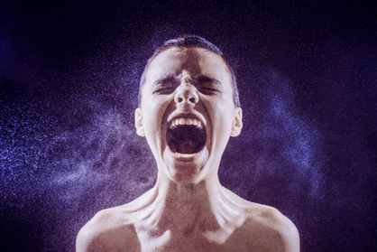 Teen showing anger and rage