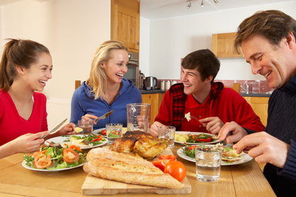 Parents and teens eating a healthy diet